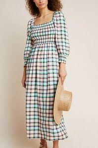 NWT- Anthropologie Maeve Cerie Smocked Midi Dress